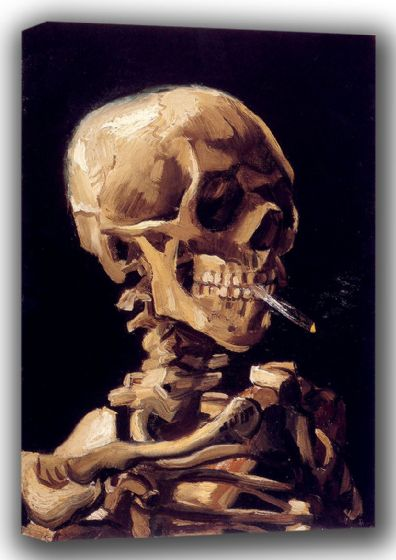 Van Gogh, Vincent: Skull of a Skeleton with Burning Cigarette. Fine Art Canvas. Sizes: A4/A3/A2/A1 (001356)